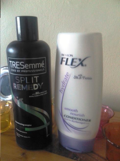 TreSemme Split Remedy Shampoo, Revlon FLEX hydrating conditioner