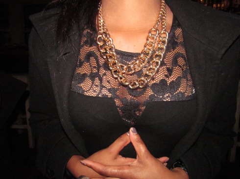 I loved Lorna's gold statement neck piece