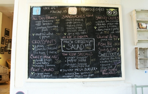 Tin Roof Menu, the Souk- Nairobi (Kenya)